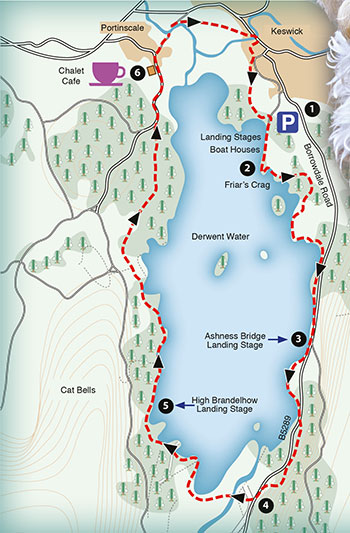 sample map of a walk aroung Derwent Water
